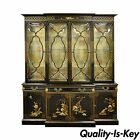 Vintage Oriental Bubble Glass China Display Cabinet Breakfront Secretary Desk