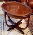 Vintage Small Oval Wooden Tea-Coffee Side Table with Removable Glass Tray Top