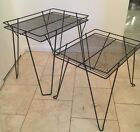 Vintage Mid Century Modern Wrought Iron Stacking Tables Metal Patio Hairpin Legs