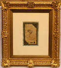 MAGNIFICENT17C PERSIAN SAFFAVI MINIATURE  DRAWING, WITH FRECH GOLD FEAF FRAME