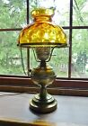 Vintage Brass electric oil lamp Amber glass shade Clear Chimney Parlor Light