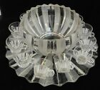 RARE c.1940s No.1005 Indiana Glass Vertical Rib Frosted 12 PC Punch Bowl Cup Set