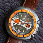 DUGENA XXL 45MM CHRONO DIVER 7734 ORANGE ACRYLIC BEZEL BROWN LINEN DIAL 200M WOW