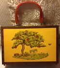Wood Box Handpainted Purse-Sewing- Celluloid Handle