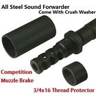 1 2X28 Muzzle Brake W 3 4x16 TPI Outer Sleeve Sound Forwarder+Protector+Washer