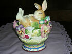 FITZ & FLOYD HALCYON BUNNY LIDDED BOX! RARE RETIRED! ITEM# 63/411 FREE PRIORITY!