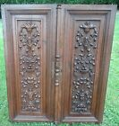 Antique Pair French 19th Architectural Salvage Carved Wood Door Panels-44.09in