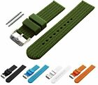BARTON Watch Bands Width 22mm Soft Silicone Olive Green Rubber