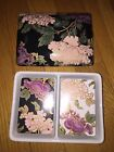 Fitz & Floyd Cloisonne Peony Black Double Deck Playing Card Box & Lid with Cards