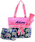 Personalized Elephant Pink Quilted 3Pcs Set Diaper Bag MONOGRAM Embroidery