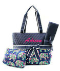 Personalized Elephant NAVY Quilted 3Pcs Set Diaper Bag MONOGRAM Embroidery