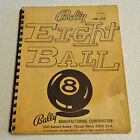 ORIGINAL Bally EIGHT BALL Pinball Machine MANUAL