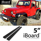 Running Board Side Step Nerf Bars 5in Black Fit Jeep Wrangler TJ YJ 2Dr 87 06