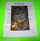 GILLIGANS ISLAND By BALLY 1991 ORIGINAL NOS PINBALL MACHINE PLAYFIELD SHOT MAP