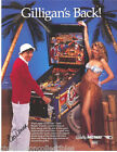 GILLIGANS ISLAND By BALLY 1991 ORIGINAL NOS FLIPPER PINBALL MACHINE SALES FLYER
