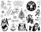 8 1 2 x 11 stamp sheet CHRISTMAS rubber stamps tree children silhouettes 7