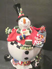 FITZ AND FLOYD CHRISTMAS COOKIE JAR SULLIVAN THE SNOWMAN FREE SHIPPING