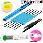 11PC Soldering Kit w Desoldering Pump ESD Tweezers Assist Tools Wick Flux