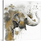 Water Elephant with Gold Canvas Wall Art Print Elephant Home Decor