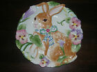 FITZ FLOYD HALCYON BUNNY RABBIT PANSY CANAPE PLATE # 64/401 RETIRED, MINT COND.!