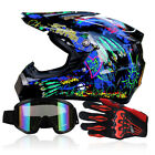 Adults Dot Motocross Off Road Racing Motorcycle ATV S XL Helmets+Goggles+Gloves