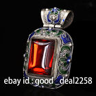 RARE CHINA SILVER OLD INLAY RED ZIRCON CLOISONNE COLLECT HAND CARVED PENDANT