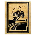 PALM TREES on BEACH mounted rubber stamp art deco ocean 4