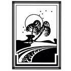 Palm Trees on Beach unmounted rubber stamp art deco style 4 ocean