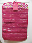 Sheffield Home Hanging Jewelry Organizer 39 Zipper Pockets - Pink w/ hearts -New