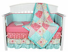 Gia Floral Coral Blue Patchwork 8 In 1 Baby Girl Crib Bedding Collection