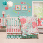 Mila CoralBlue Floral Patchwork Baby Girl Crib Bedding 4 pc set by Peanut Shell