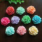 30pcs 10mm Resin Rose Flower Flatback Buttons DIY Scrapbooking Appliques US