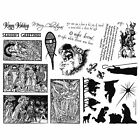 8 1 2 x 11 rubber stamp sheet Christmas nativity Santa quotes 13