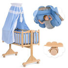 Wood Baby Cradle Rocking Crib Newborn Bassinet Bed Sleeper Portable Nursery Blue