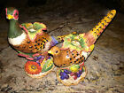 Fitz and Floyd Autumn Bounty Pheasant Pair Candle Holders Thanksgiving and Fall