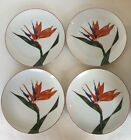 Vintage Fitz and Floyd Bird of Paradise Set of 4 Dessert Salad Plates