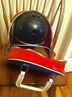 vintage  Manhattan Rubber 12-lb. bowling ball & carrying case bag Red White Blue