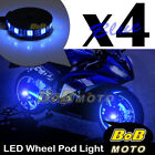 Custom Center Blue 5050 LED Wheel Pod Accent Light Set For Honda Motor Bike