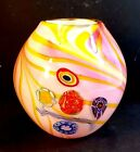 HAND BLOWN ROUND COLORFUL CONTEMPORARY ART GLASS VASE WITH MILIFIORI INSETS
