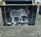 NEW ELEPHANT 3 D LASER ETCHED 3 x 2 CRYSTAL GLASS CUBE