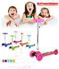 New Foldable Push Kick Scooter Pro Outdoor 3 Flashing Wheels T-bar For Kids