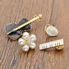 4Pcs Charming Brooch Pin Collar Pins Badge Alloy Violin Piani Notes Unisex Gifts
