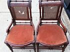 2 antique upholstered chairs from early 1900's caned backs (need repair)