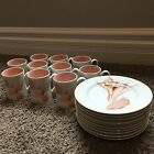 Set 10 FITZ & FLOYD Mug Cup Plate Saucer Set COQUILLE Japan 1976 Conch Seashell