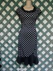 BLACK WHITE POLKA DOT PINUP MERMAID DRESS M L NEW CHURCH WEDDING ROCKABILLY