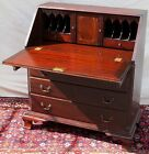 FINE SOLID MAHOGANY CHIPPENDALE STYLED 19TH CENTURY DESK WITH EXCELLENT INTERIOR