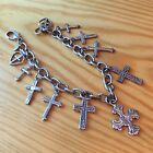 Premier Design Cross Charms Crosses Charm Bracelet Antique Silver Look Christian