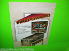 FIREPOWER II By Williams 1983 ORIGINAL NOS Flipper Pinball Machine SALES FLYER