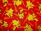 Pokemon Pikachu Red Quilting Fabric Robert Kaufman Fat Quarter