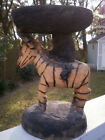 Primitive Hand Carved Wood Zebra Donkey Stand Holder Animal Stained Horse Art